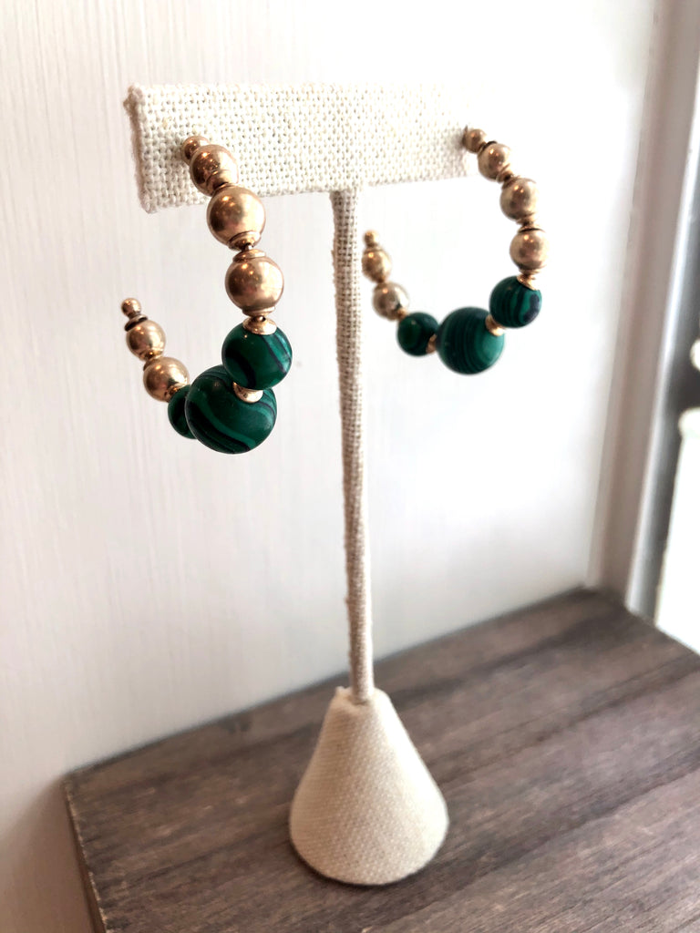 Jade Green Ball Hoop Earrings