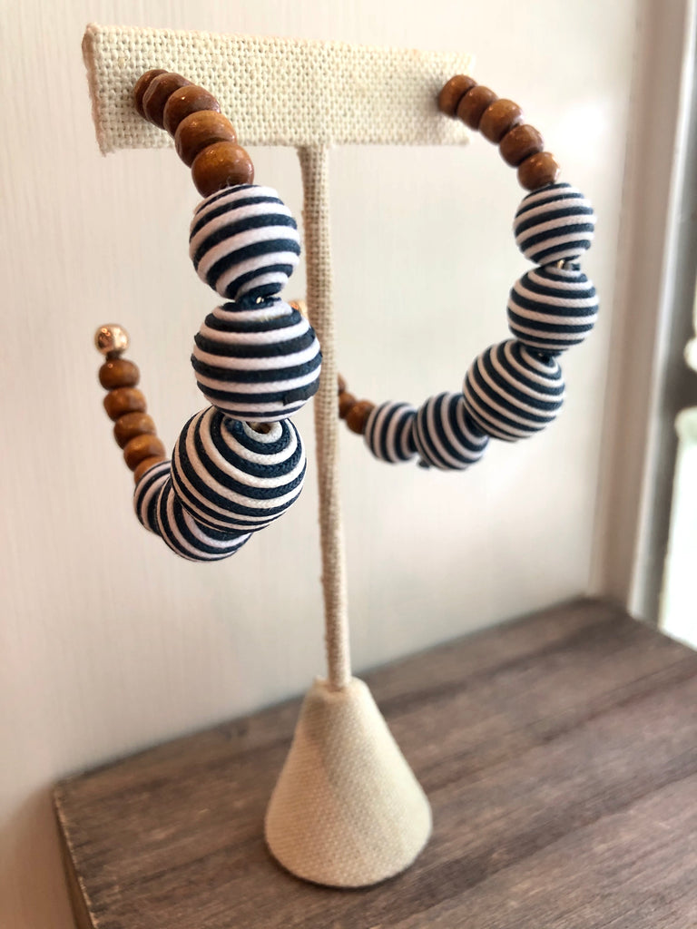 Wood & Striped Ball Hoop Earrings - SALE
