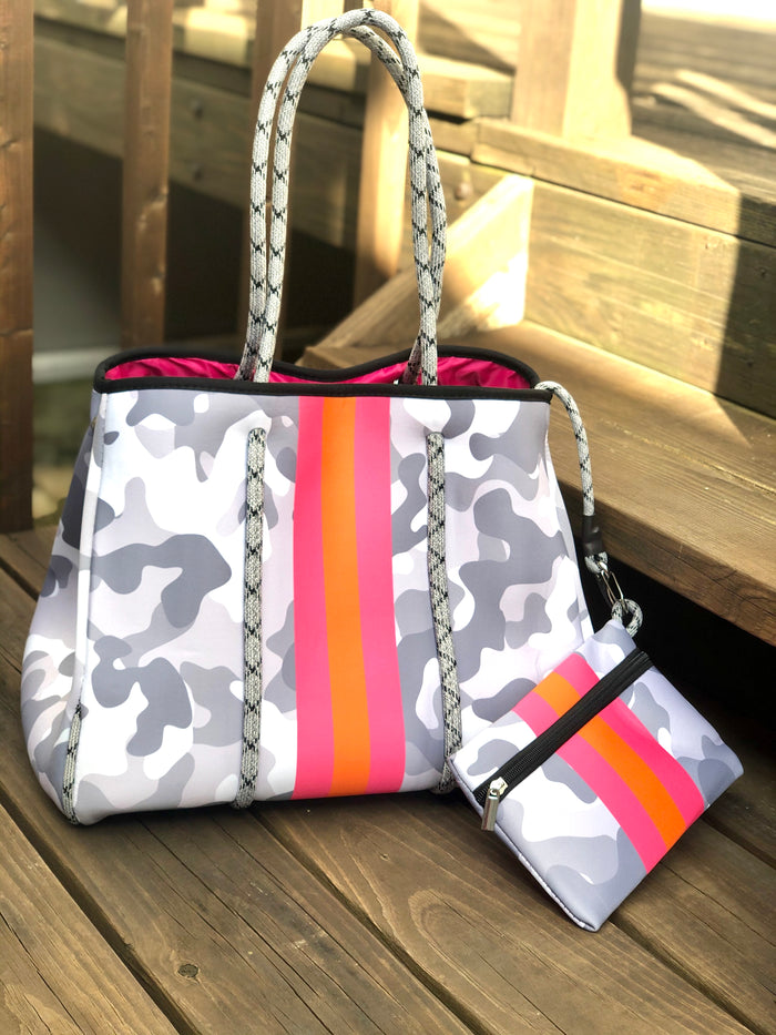 Neoprene Tote Bag - Gray Camo Stripe