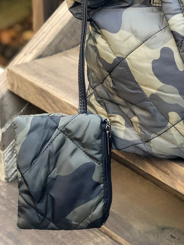 Quilted Camo Puffer Tote