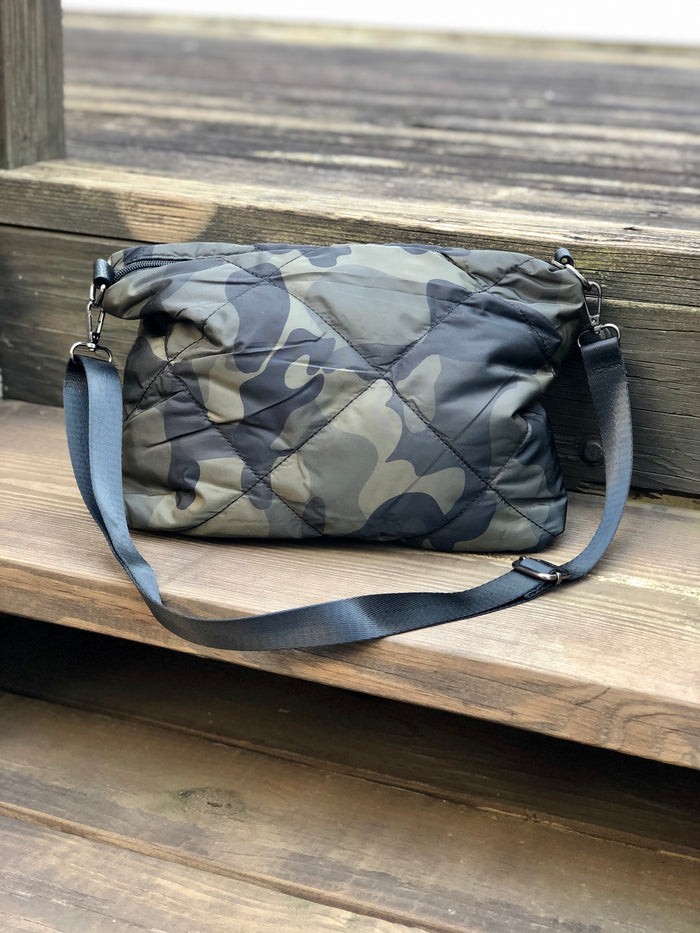 Quilted Camo Puffer Cross Body Bag