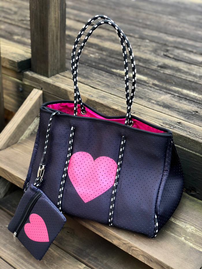 Neoprene Tote Bag - Pink Heart