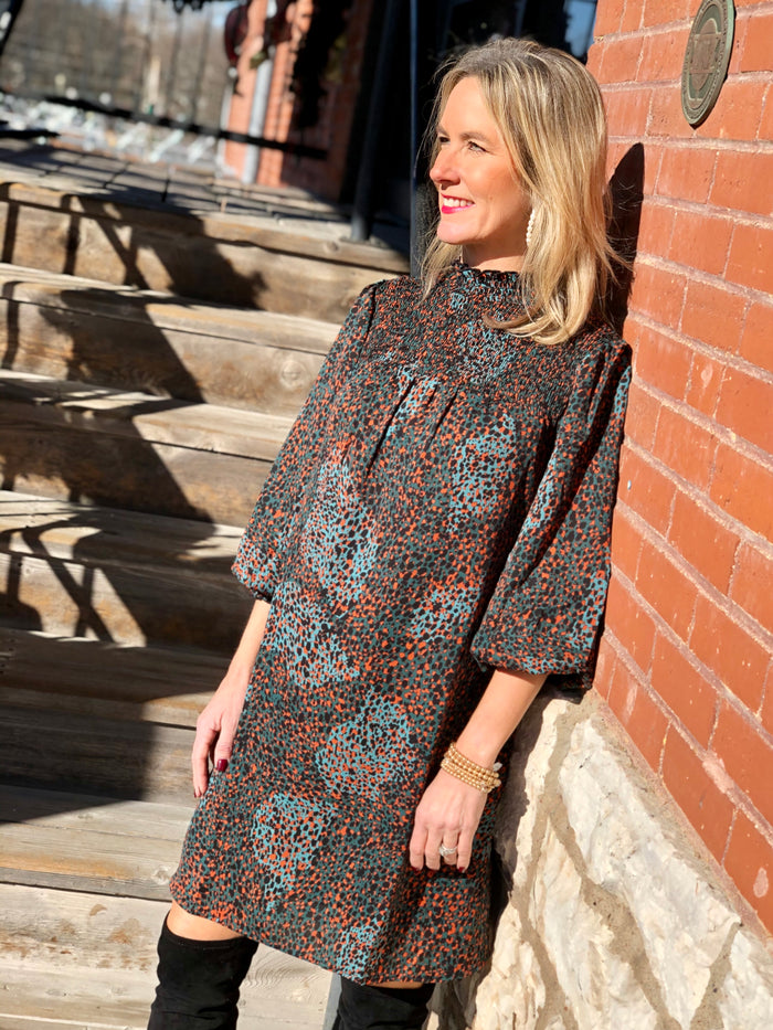 Smocked Yoke Spotted Dress