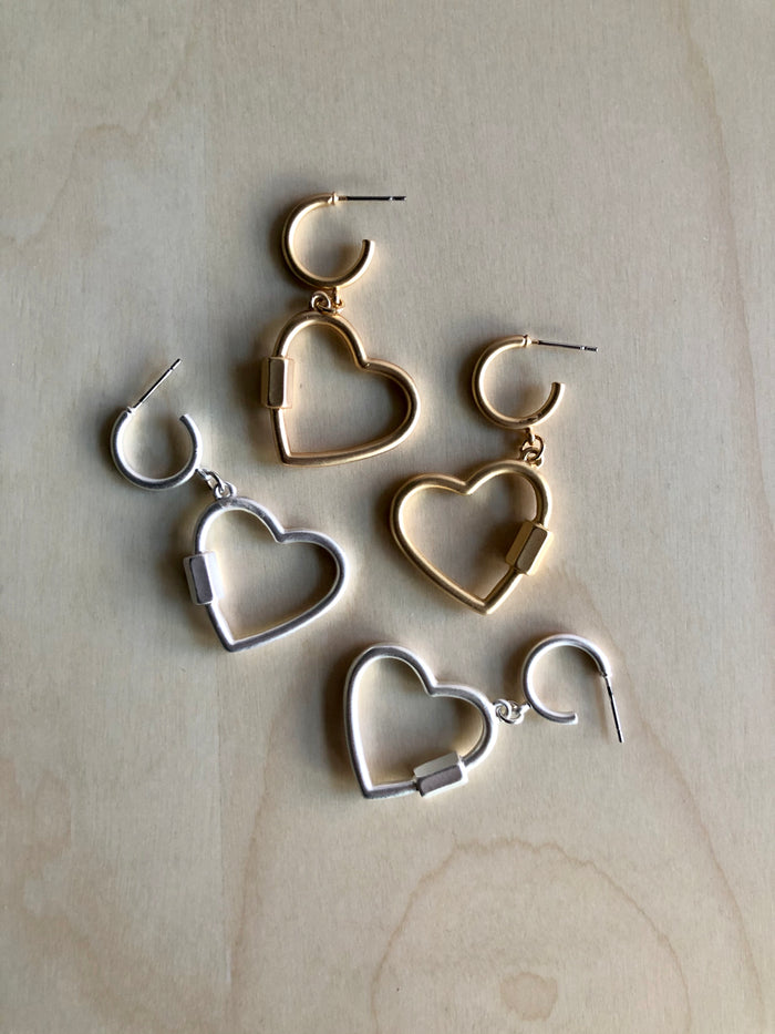 Carabiner Heart Hoop Earrings
