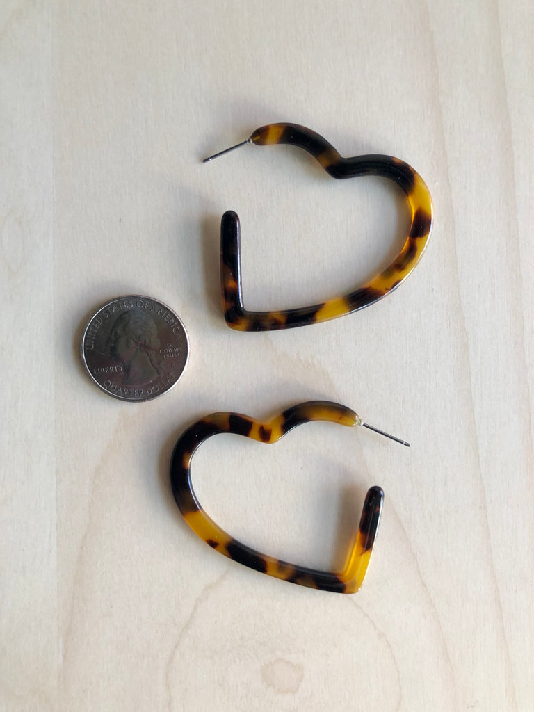 Tortoise Heart Hoop Earrings