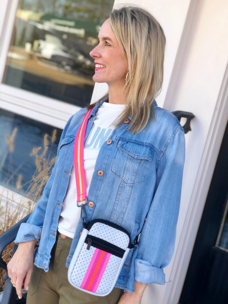 Neoprene Crossbody - White Neon Stripe