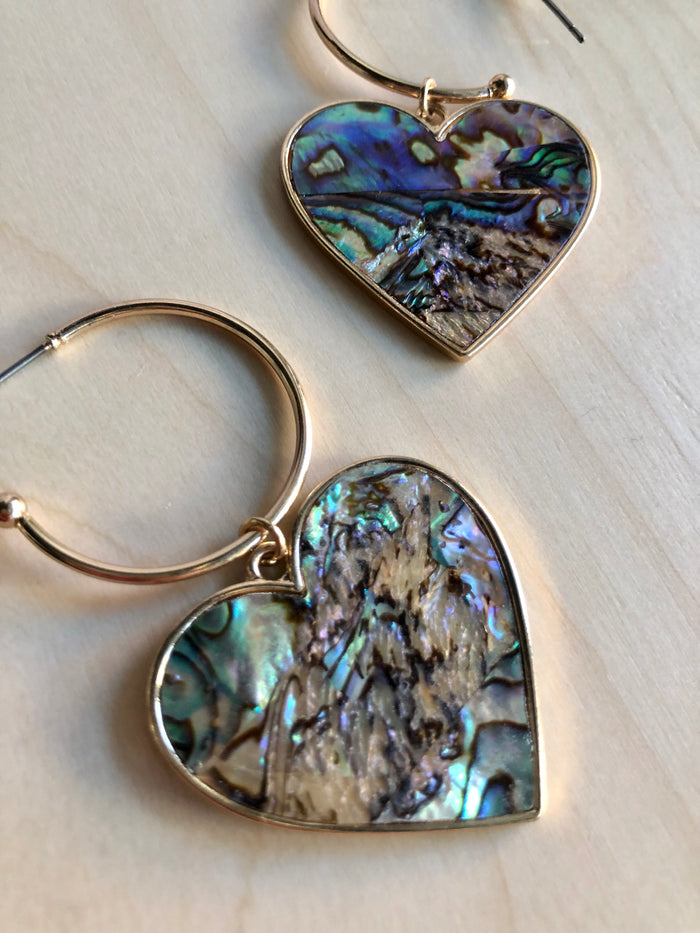 Abalone Heart Hoop Earrings
