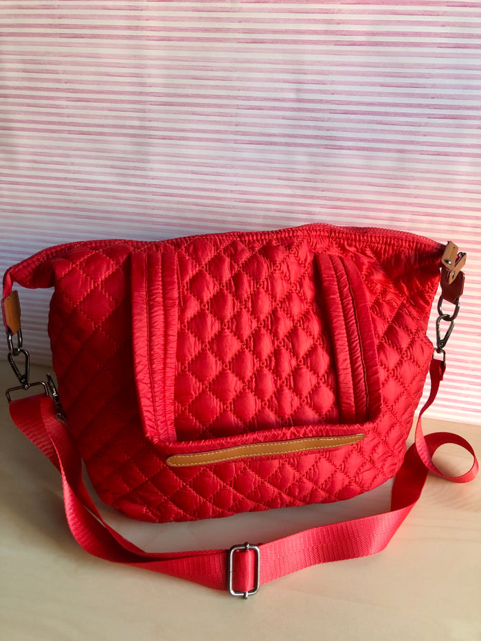 Quilted Tote Bag - Red