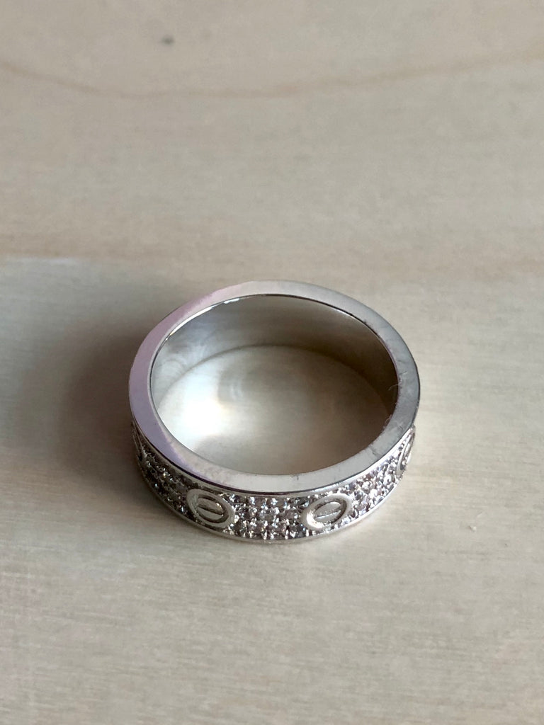 Pave Bolt Ring - Silver