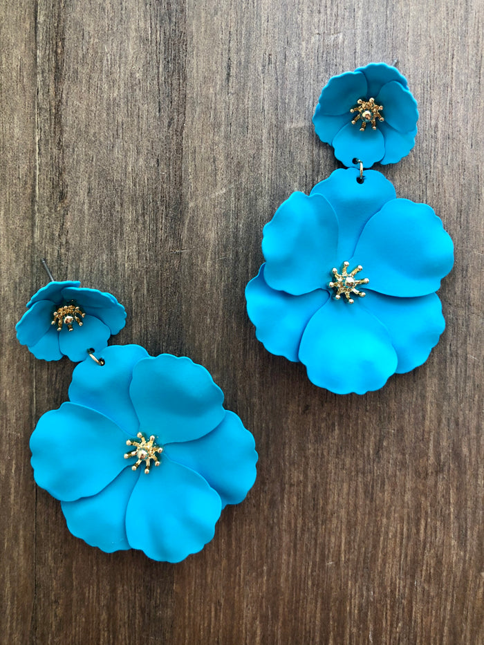 Painted Metal Flower Earrings - Turquoise
