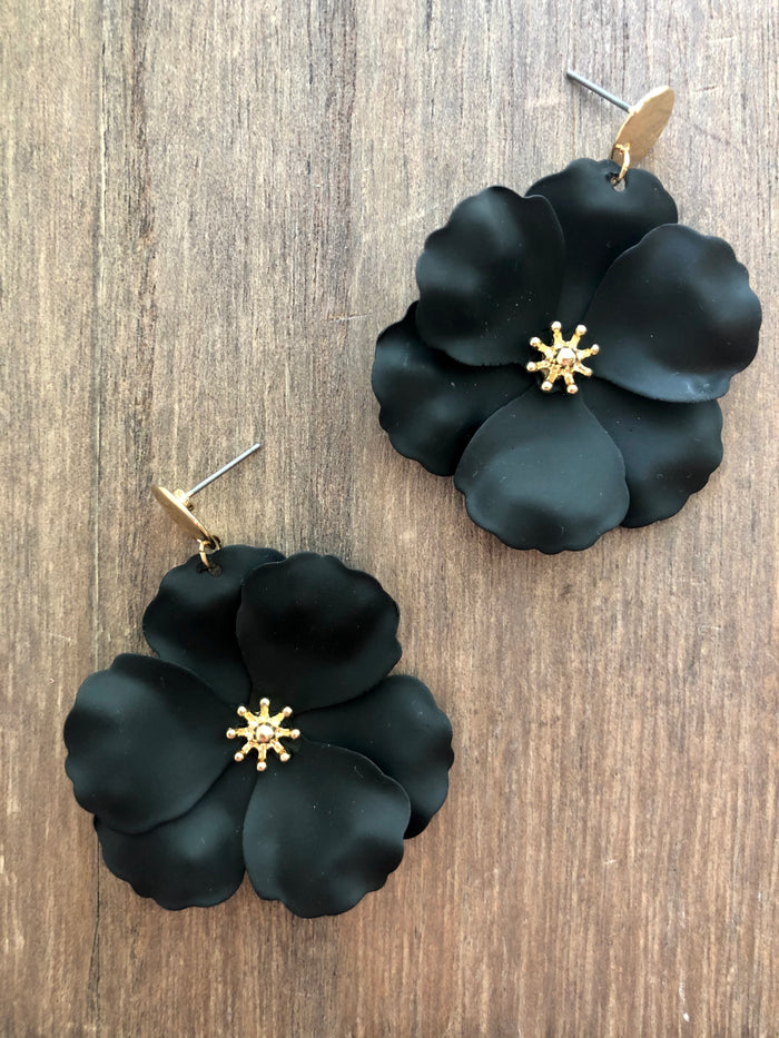 Painted Metal Flower Earrings - Black