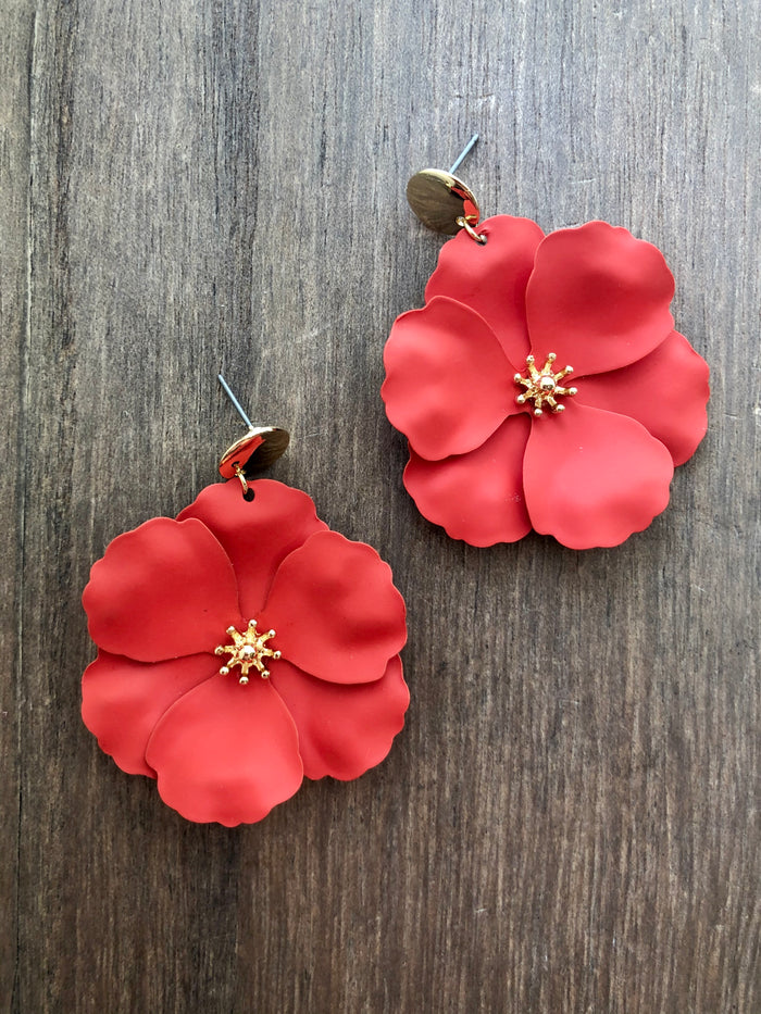 Painted Metal Flower Earrings - Red