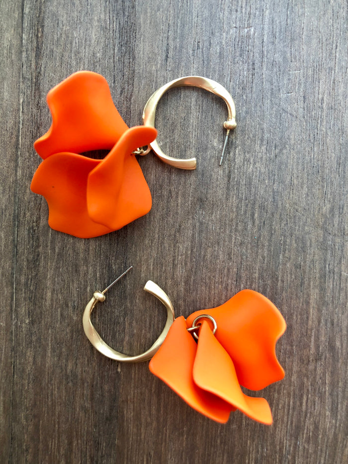 Matte Gold Petal Hoop Earrings