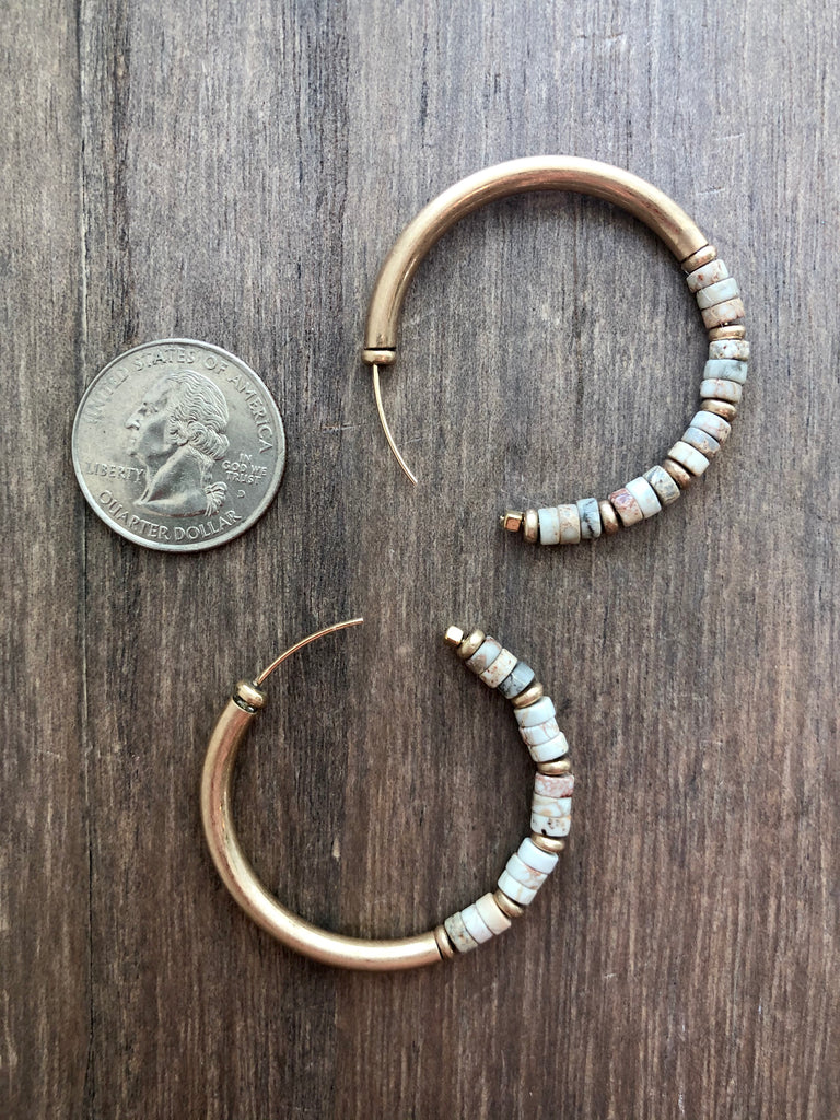 Matte Gold & Stone Hoops