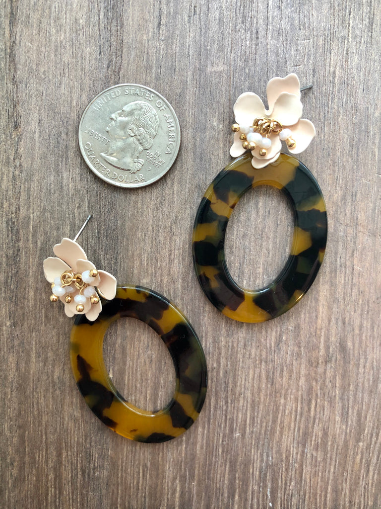 Floral & Tortoise Drop Earrings