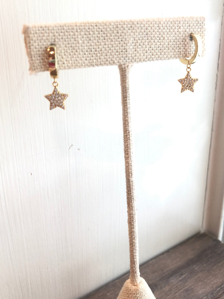 Bling Star Huggie Hoops