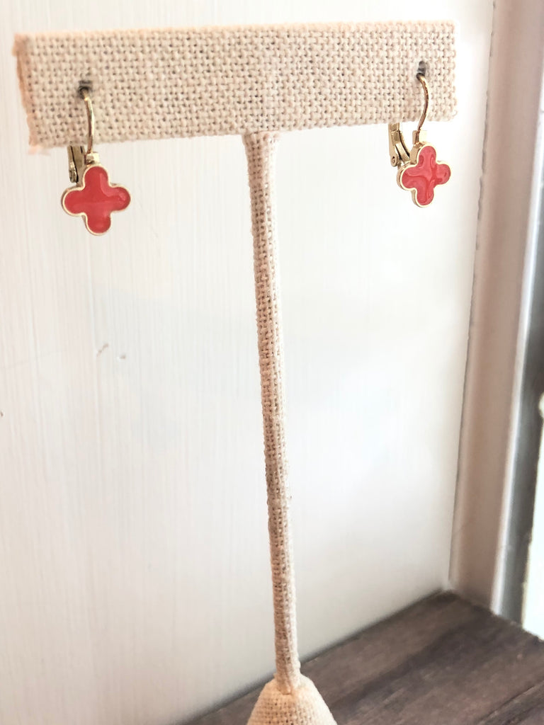 Enamel Cross Huggie Hoop Earrings