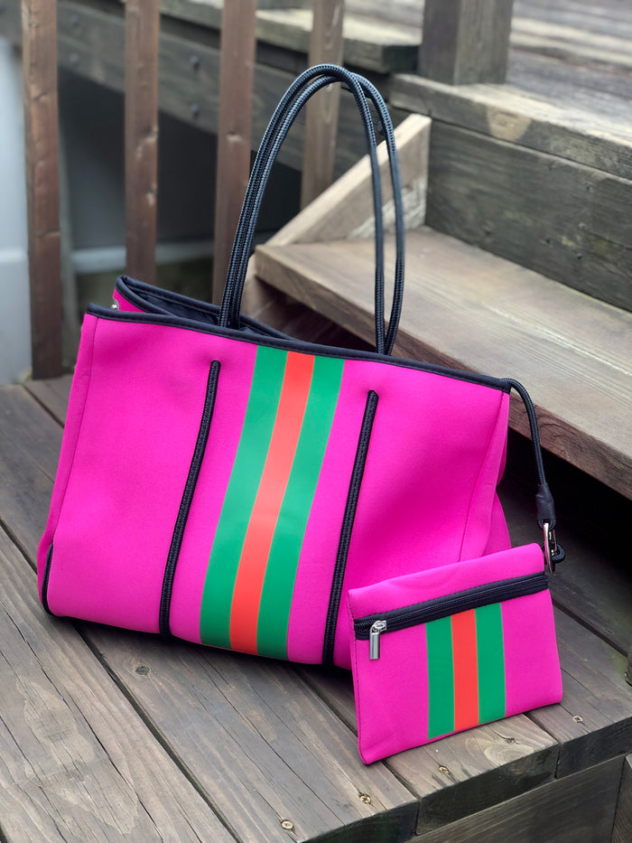 Neoprene Tote Bag - Pink Pop Stripe