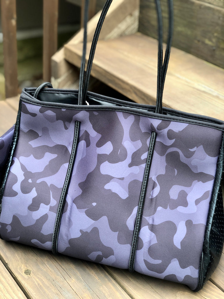 Neoprene Tote Bag - Camo Rainbow Stripe