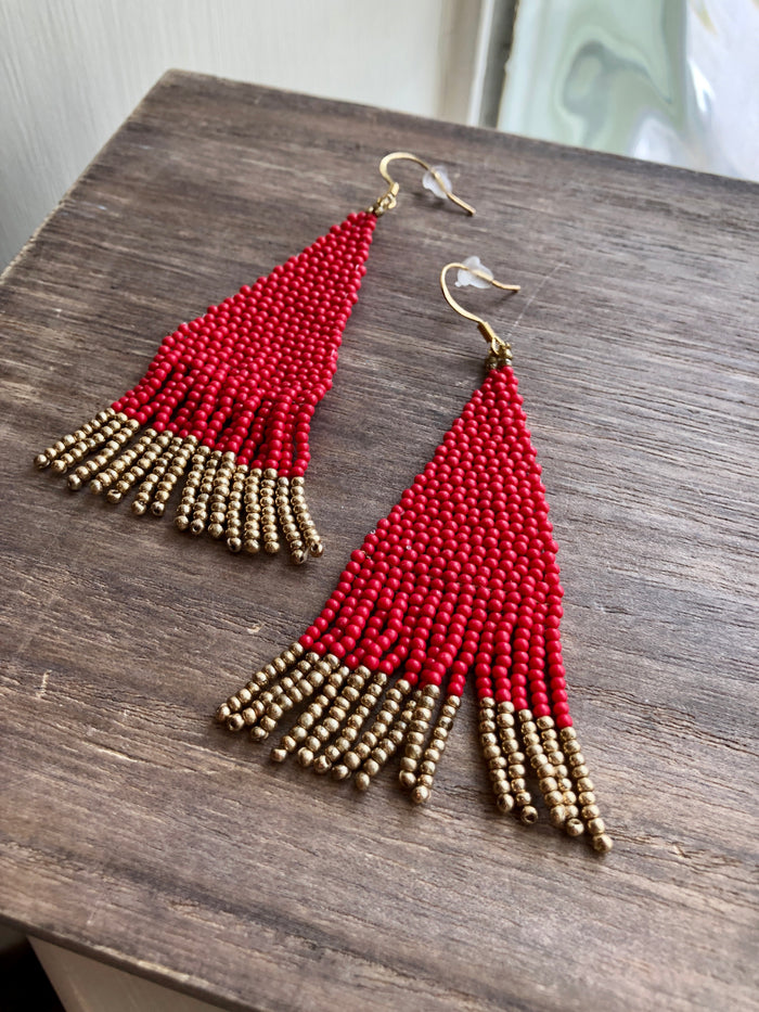 Beaded Pyramid Earrings