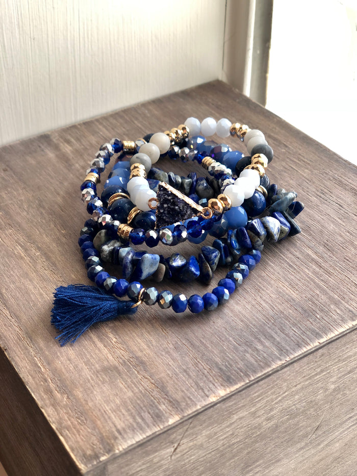 Indigo Blue Beaded Bracelet Stack