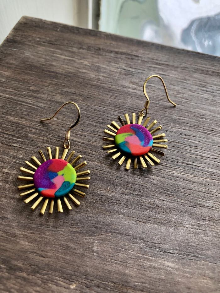 Clay Sunburst Earrings