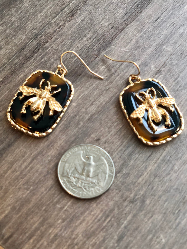 Resin & Bee Earrings