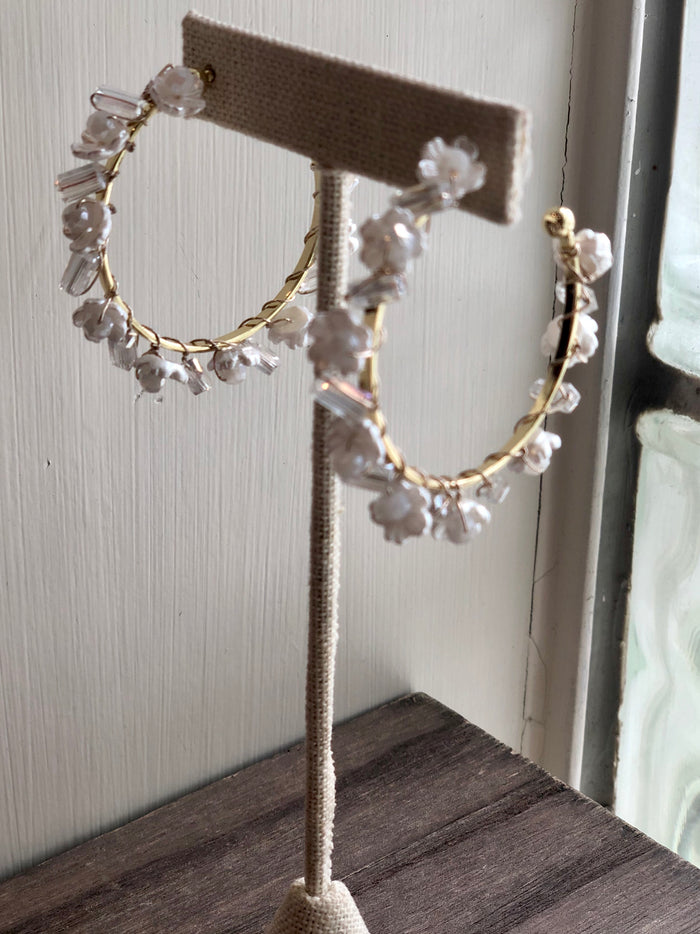 Pearl Flower Hoops
