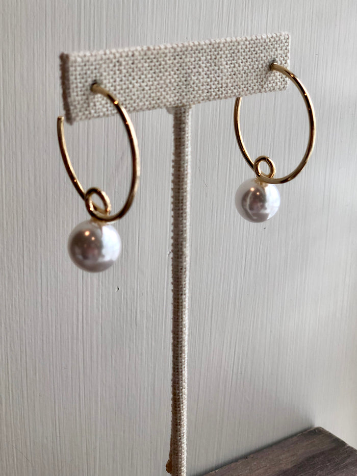 Pearl Loop Hoop Earrings