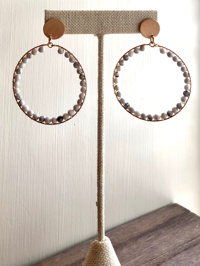 Marble Beaded Drop Earrings