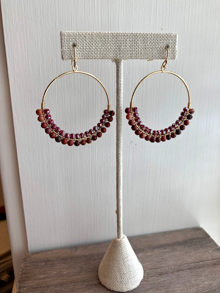 Rust Beaded Circle Drop Earrings