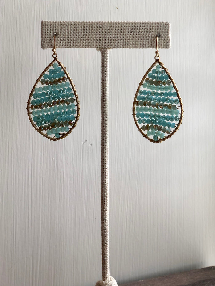 Striped Beaded Teardrop Earrings