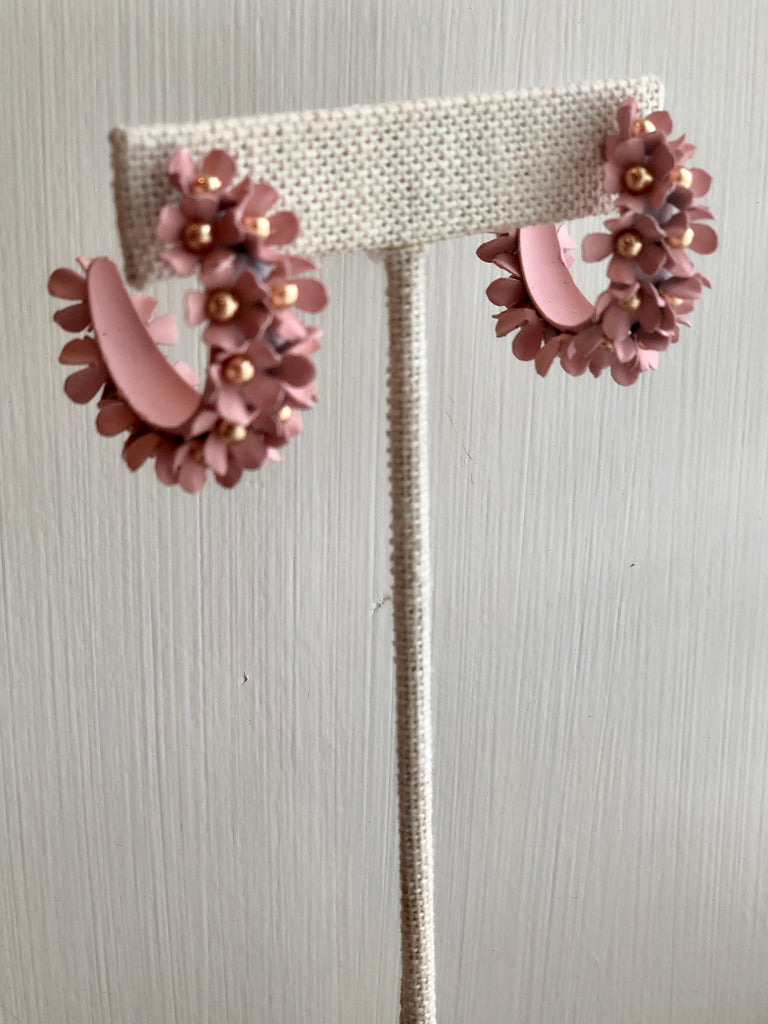 Flower Cluster Hoop Earrings - SALE
