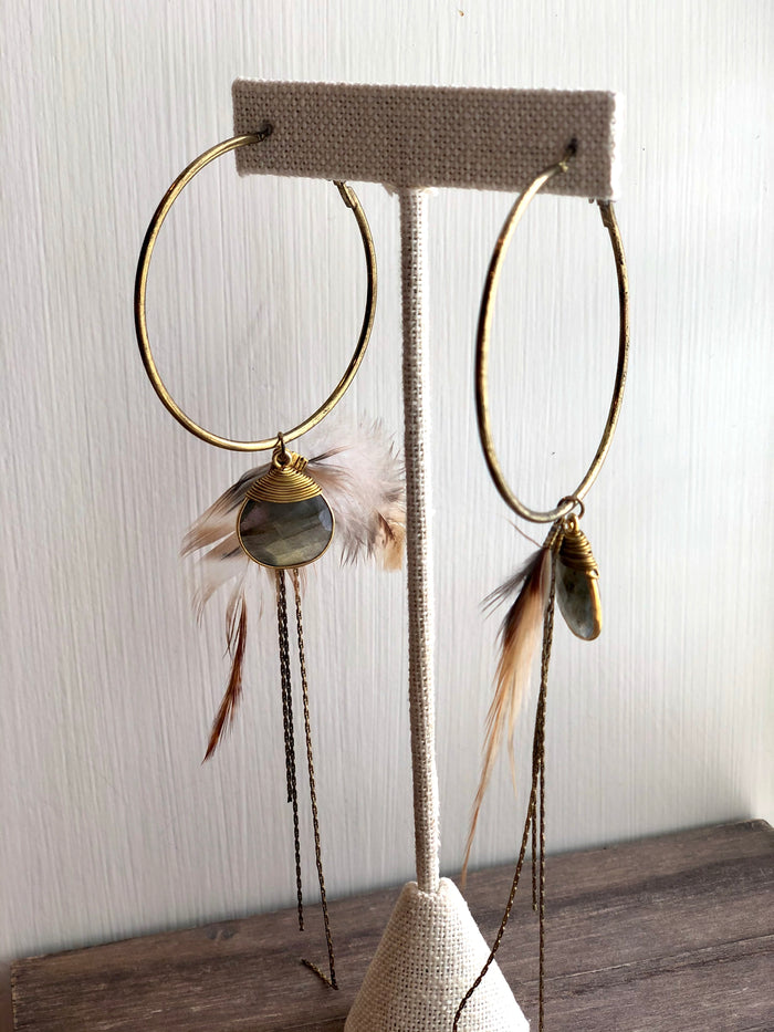 Feather & Chain Hoop Earrings