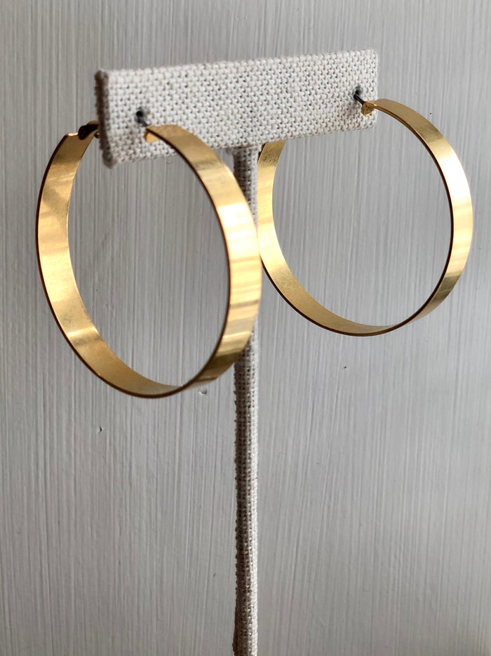 Wide Matte Metal Hoop Earrings