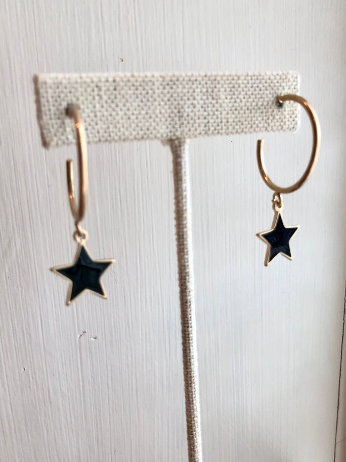 Small Enamel Star Hoop Earrings
