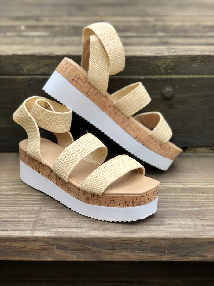Mandy Natural Raffia Platform Sandal - SALE