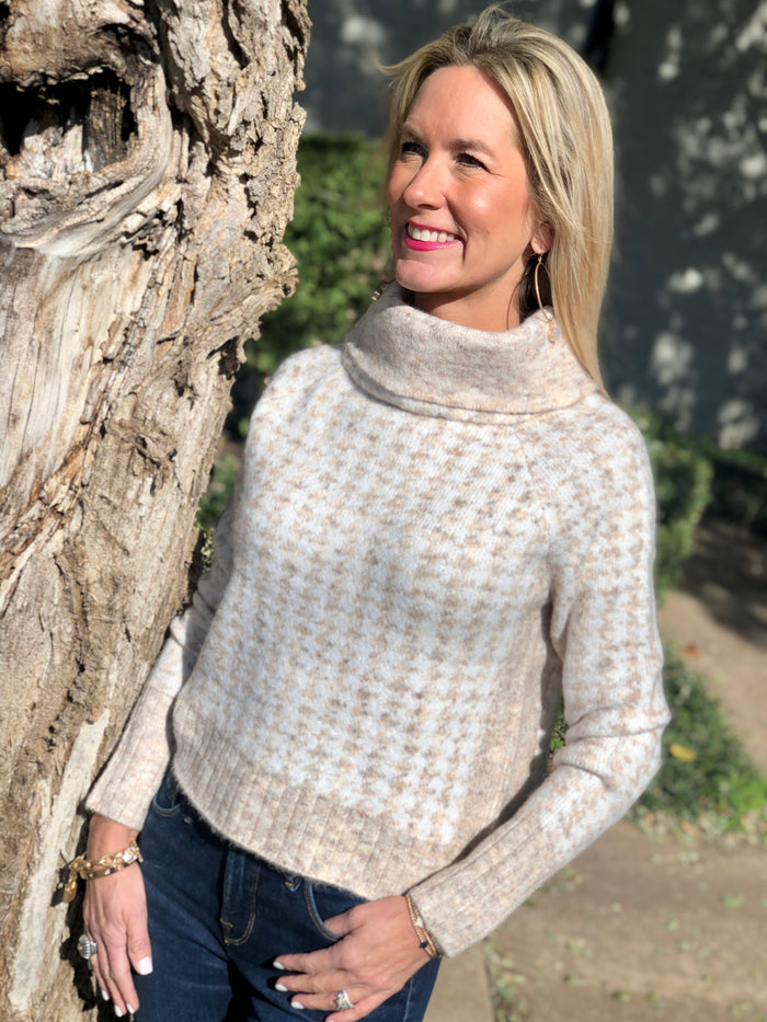 Houndstooth Cowl Neck Sweater