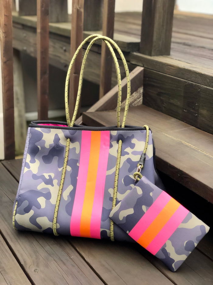 Neoprene Tote Bag - Camo Pink Stripe