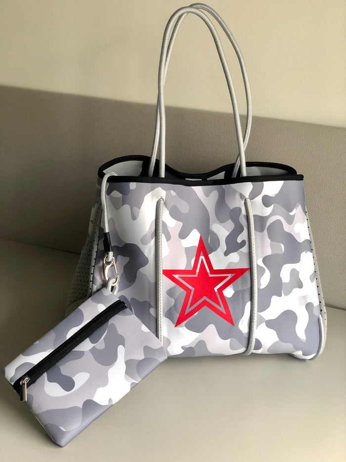 Neoprene Tote Bag - Camo & Red Star