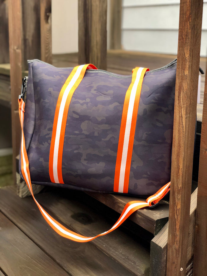 Neoprene Weekender Bag - Camo & Orange Stripe