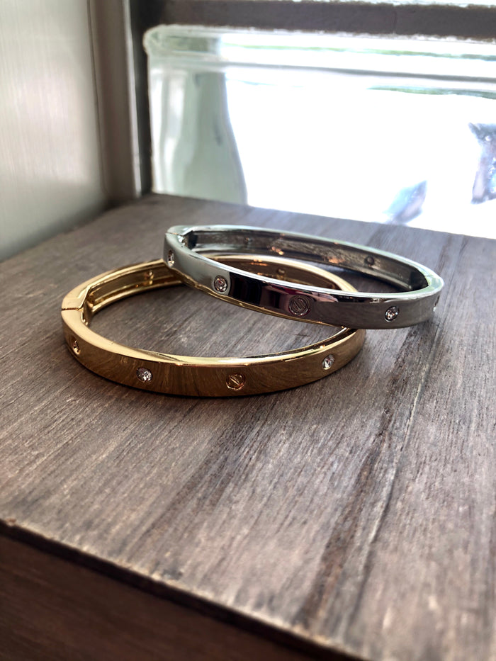 Bolt & CZ Bangle Bracelet