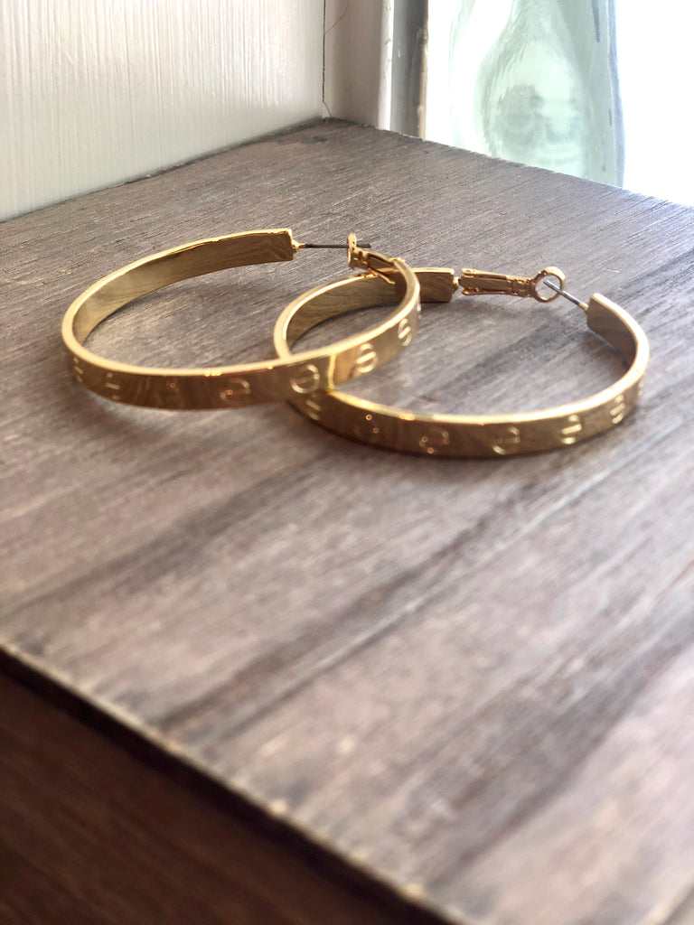 Bolt Hoop Earrings - 2 Inch