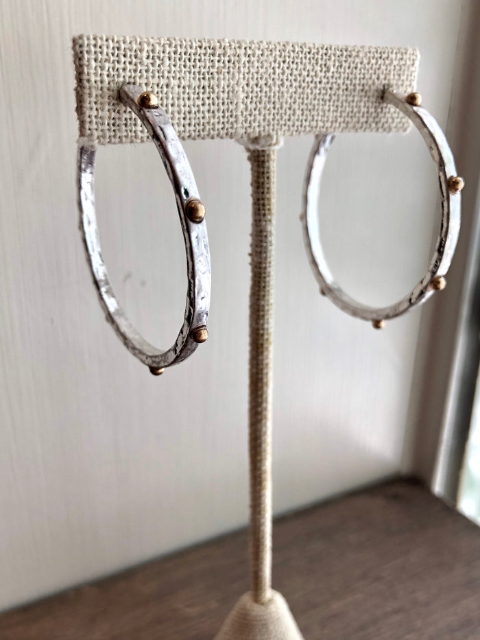 Studded Matte Metal Hoop Earrings - Silver
