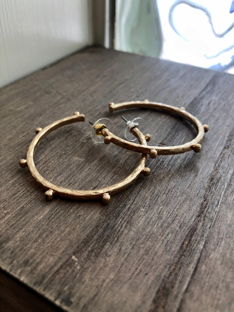 Studded Matte Metal Hoop Earrings - Gold