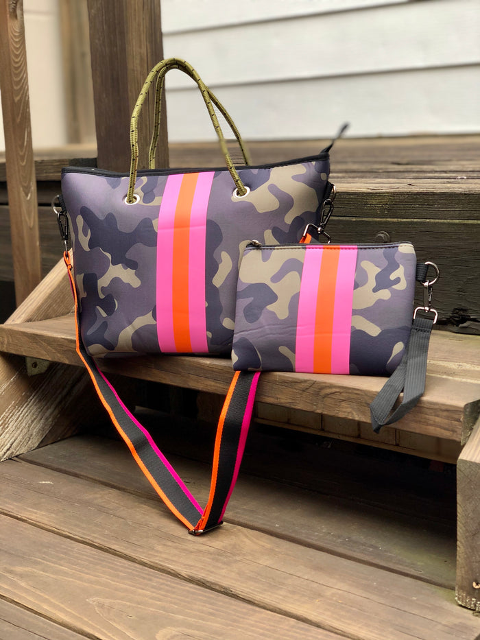 Mini Neoprene Tote Bag - Camo Stripe