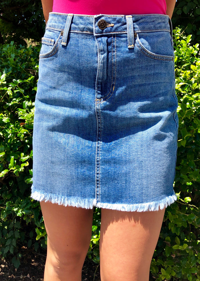 Denim Frayed Skirt