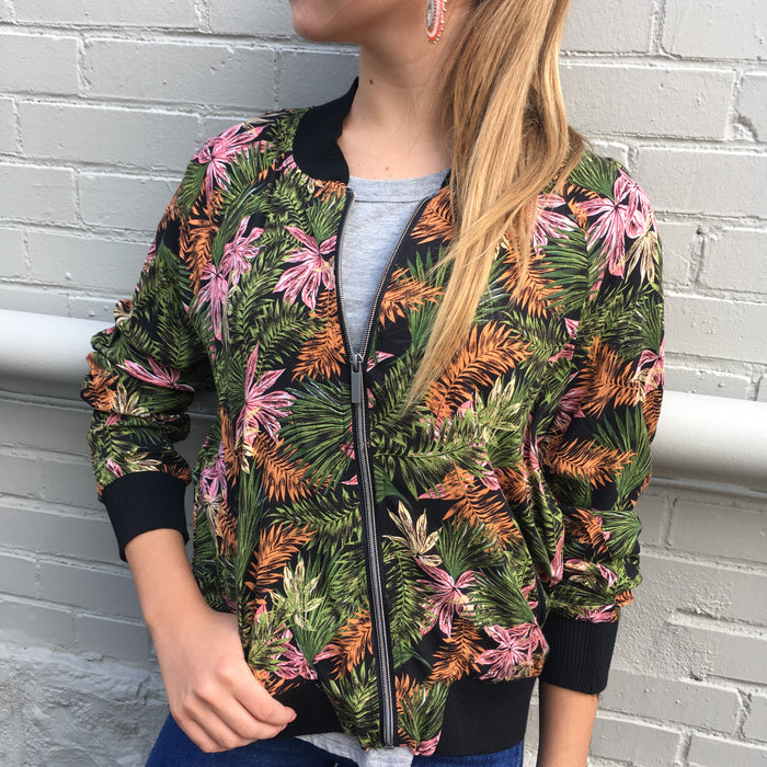 Palm Print Bomber Jacket
