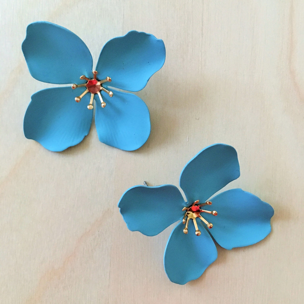 Large Metal Flower Stud Earrings