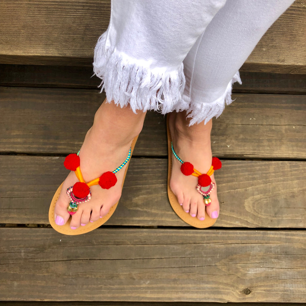Pom Pom Mirror Flip Flops - FINAL CLEARANCE